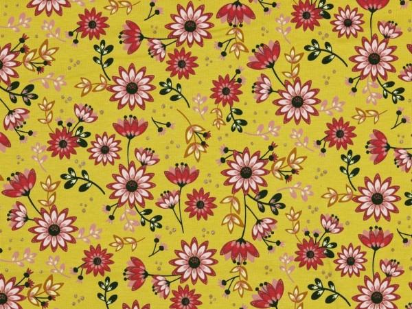 Baumwoll Jersey Druck Blumen