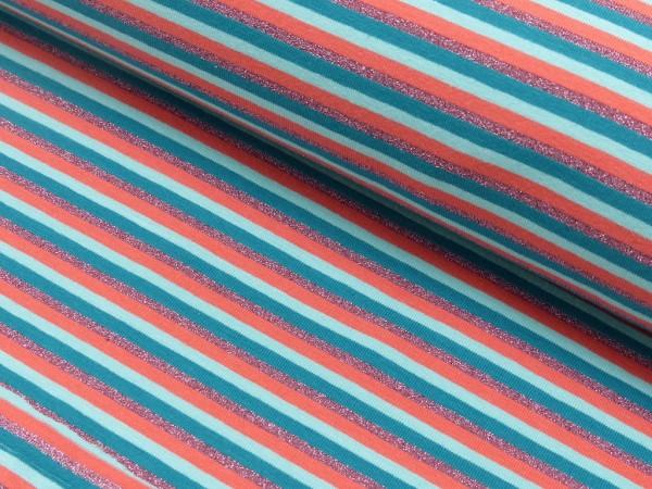 Baumwoll Jersey Glitzer Streifen