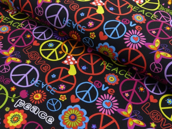 Polyester Druck Love and Peace