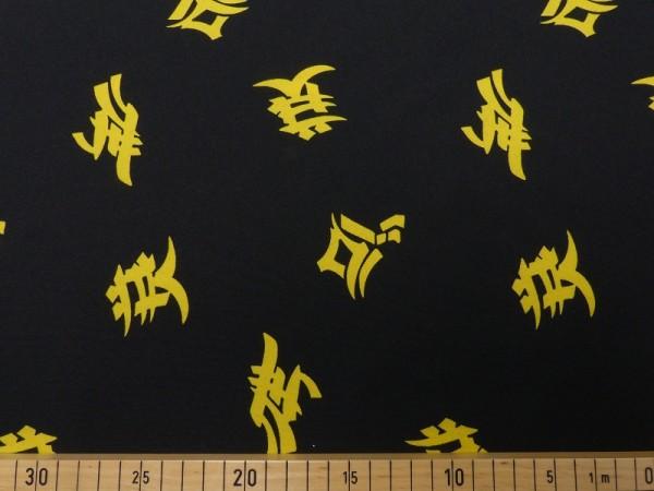 Polyester Stretch chinesische Schriftzeichen