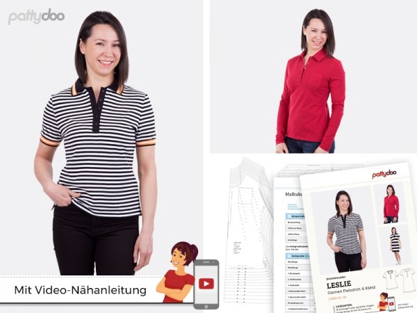 Schnittmuster Leslie Poloshirt & Kleid by pattydoo