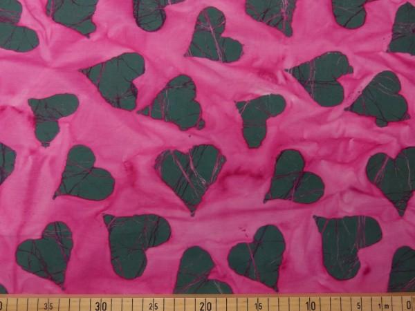 Baumwoll Batik Druck Herzen