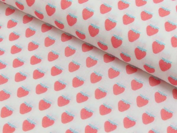Baumwoll Druck Erdbeeren