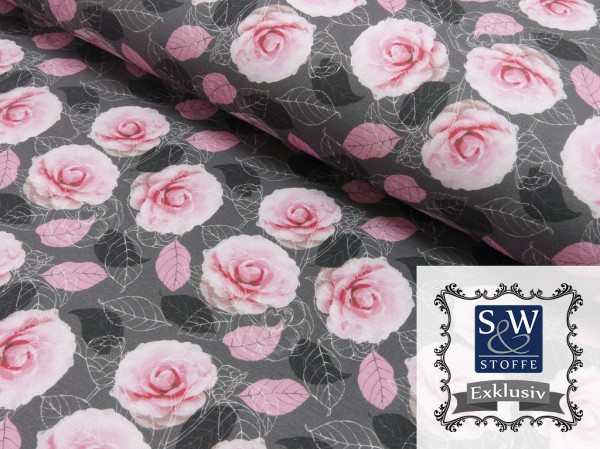 French Terry Druck Flower Love by S&W Stoffe Exklusiv