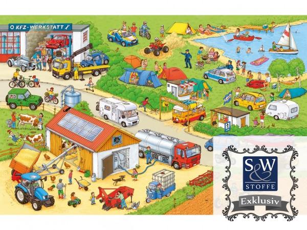 Baumwoll Jersey Digital Druck Wimmelbuch (auf dem Land)