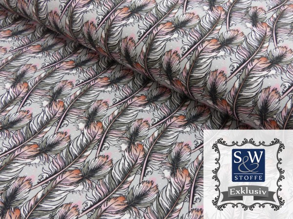 French Terry Druck Magic Feathers by S&W Stoffe Exklusiv