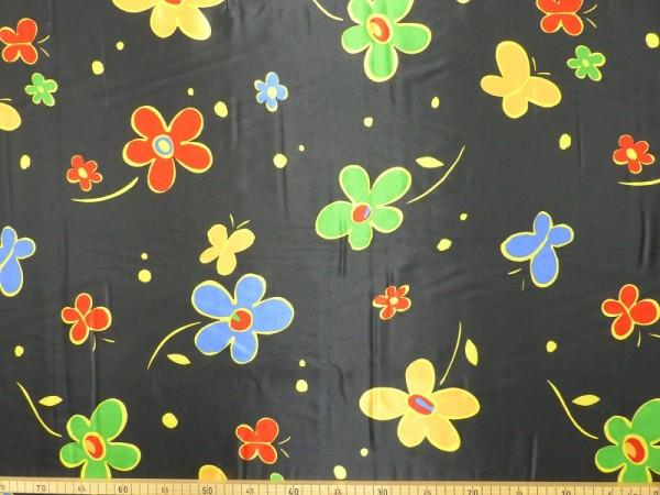 Polyester Satin Druck Flower Power
