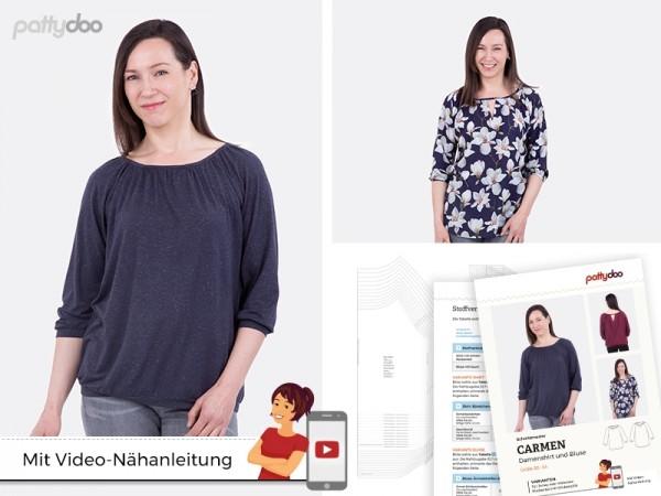 Schnittmuster Carmen Damen Shirt + Bluse by pattydoo