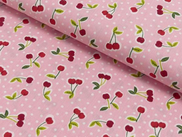 Baumwoll Druck Love You Cherry Much