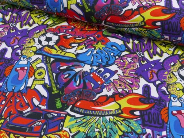 Baumwoll Jersey Druck Graffiti