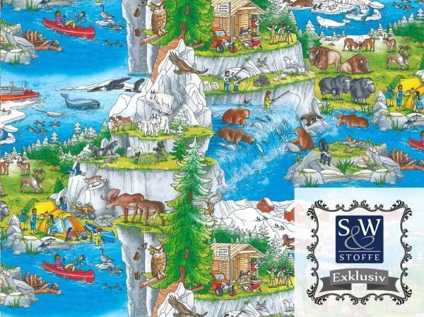 Baumwoll Jersey Digital Druck Wimmelbuch (Nordamerika)