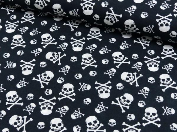 Baumwoll Druck Skulls Cross