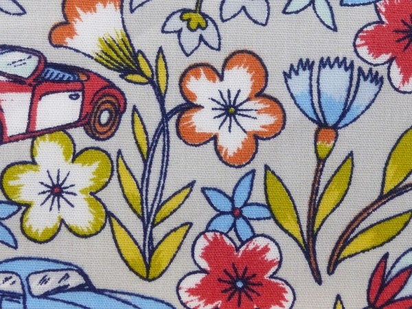 Baumwoll Druck Cars & Flowers